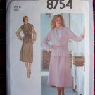 Vintage SKirt BLouse Unlined Jacket or Vest Sewing Pattern 8754 Bust 36