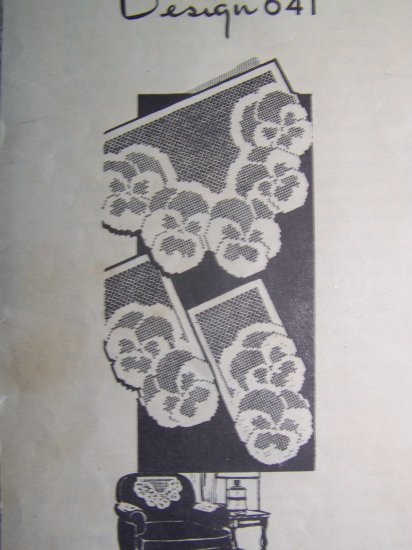 1940's Laura Wheeler Filet Crochet Pattern Pansy Chair Set 1 Cent USA Shipping