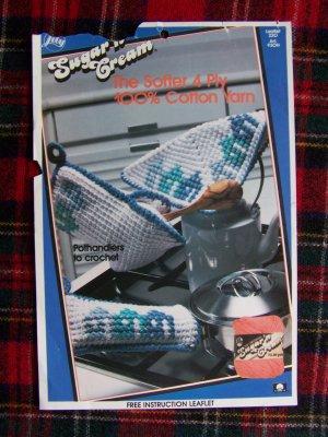 Vintage Crochet Pattern Pothandler Handleholder Hot Pad Mitt Kitchen Accesories