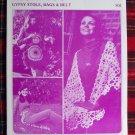 1970's Merribee Crochet Pattern Hippie Gypsy Wrap Stole Fringe Purse & Belt