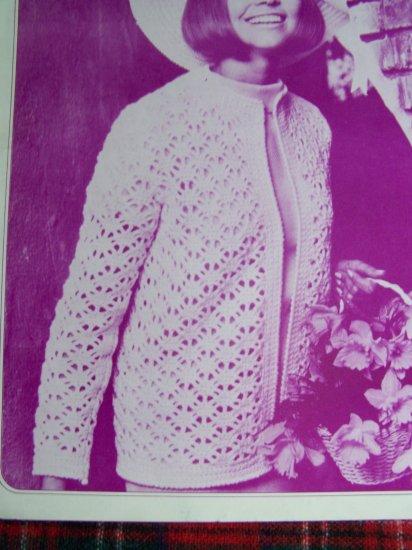 USA 1 Cent S&H Vintage 70's Merribee Crochet Pattern Misses Cardigan Sweater