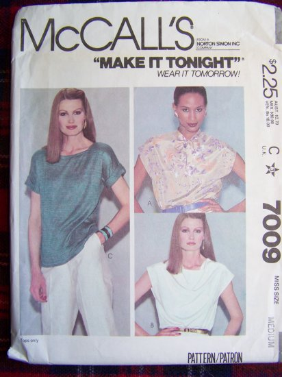 Vintage 80's Sewing Pattern Pullover Blouses Drape Front Kimono Sleeves 7009