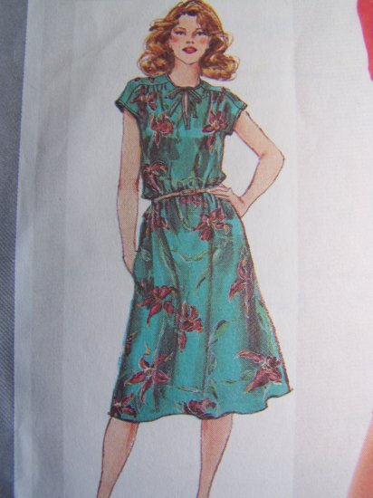 Vintage Sewing Pattern Sz 14 Dress Slash Tie Bodice Full Long Slv Sleeveless 5195