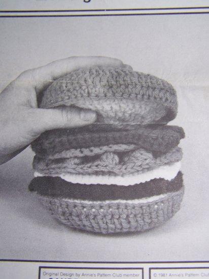Vintage Crochet Deli Pattern Annie's Play Food Li'l Burger Hot Pads Deluxe Hamburger