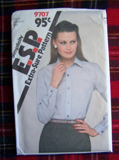 USA 1 Cent S&H  Vintage Sewing Pattern Shirt Front Band Button Long Sleeve 9707