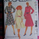 80's Vintage Dress Sewing Pattern Bust 36 Flared Flowing Skirt McCall's 7216