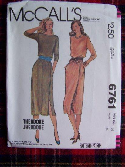USA 1 Cent S&H Vintage Mock Wrap Dress Lapped Shoulders Sewing Pattern 6761