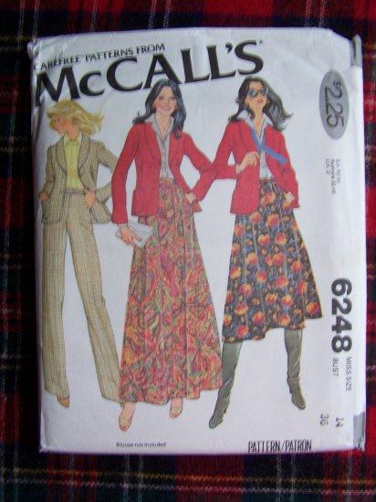 Vintage 70's Sewing Pattern Unlined Blazer Jacket Full Skirt Pants 6248