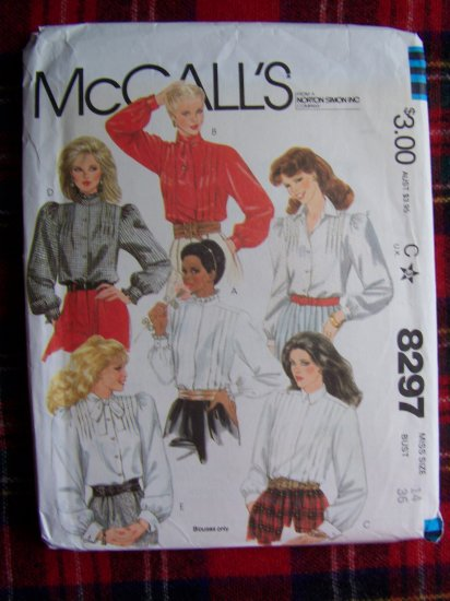 1980's Vintage Set of Blouses Tuck Front Bold Shoulders Sz 14 Sewing Pattern 8297
