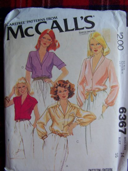 USA 1 Cent S&H 70's Vintage Set OF Blouses Sewing Pattern McCall's 6367