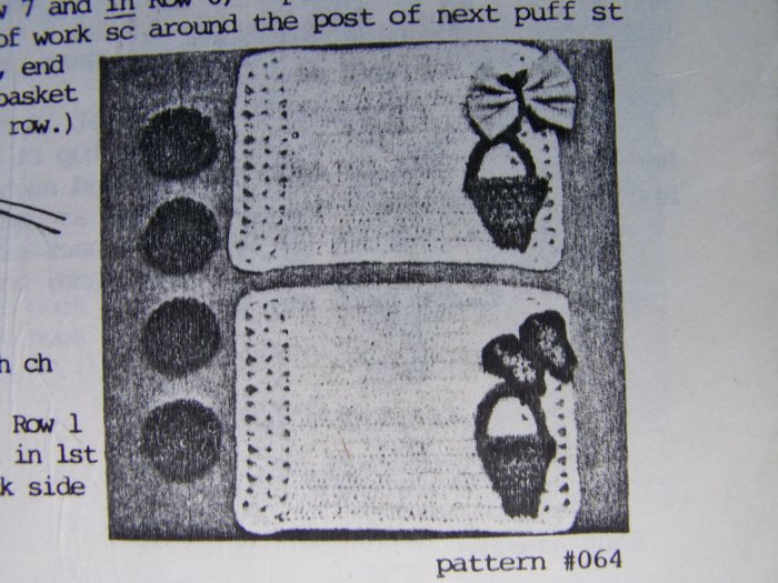 Vintage Crochet Pattern Drew's Drawer Plate Mate Baskets Butterflies Placemat & Coasters Set