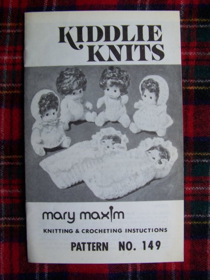 Vintage Kiddlie Knits Mary Maxim Knitting & Crocheting Baby Doll Clothing Patterns
