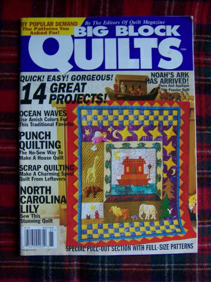 1996 Big Block Quilts Magazine Quilting Patterns Noah's Ark +