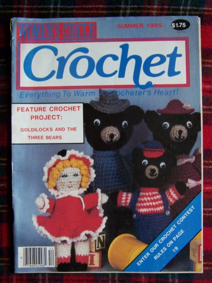 Vintage Women's Circle Crochet Pattern Magazine Summer 1985 Goldilocks 3 Bears