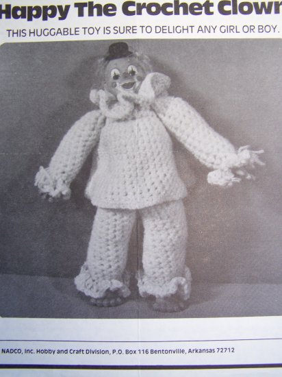 USA 1 Cent S&H Vintage Happy the CLown Crochet Doll Pattern Stuffed Toy