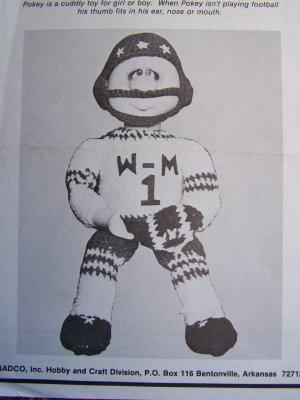 1 Cent USA S&H Vintage Crochet Pattern Pokey the Football Player Stuffed Doll