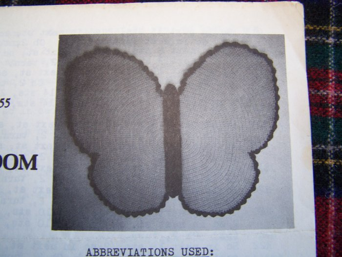 1 Cent USA S&H Vintage Pattern Crocheted Butterfly Bathroom Rug Wall Hanging Crochet