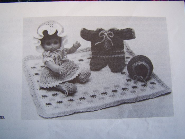 Vintage Doll Clothes Patterns Dress Ruffle Panties Bonnet Snowsuit Hat Blanket