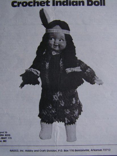 USA 1 Cent S&H Vintage Crochet Pattern Indian Pow Wow Stuffed Doll