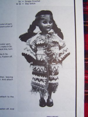 Crochet Vintage Pattern Indian Girl Squaw Pow Wow Doll Costume CLothes