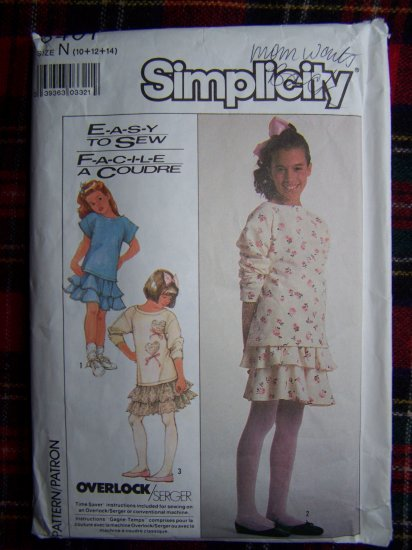 Vintage Girls 10 12 14 Sewing Pattern Two Piece Dress Flounce Skirt 8401