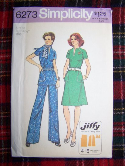 70's Vintage Sewing Pattern 6273 Misses Easy Dress Tunic Top Pants Sz 10