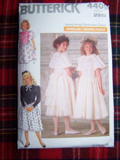 Vintage Girls Sewing Pattern 4409 Flower Girl Dress Layered Back Sz 7 8 10