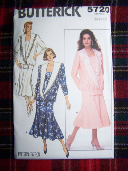 Vintage 80's Double Breasted Top Camisole Flared Gored Skirt Sew Pattern 5720