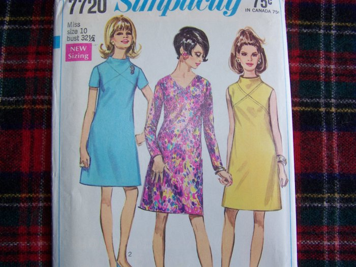 1960's Vintage Sewing Pattern 7720 Sz 10 A Line Dress Retro Bodice Funnel Neck