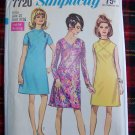 1960's Vintage Sewing Pattern 7720 Sz 10 A Line Dress Retro Bodice Funnel Neck