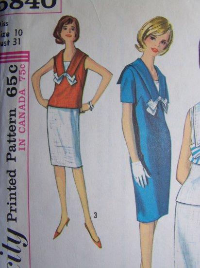 Vintage Sewing Pattern Sz 10 Sailor Dress Wiggle Skirt Simplicity 5840