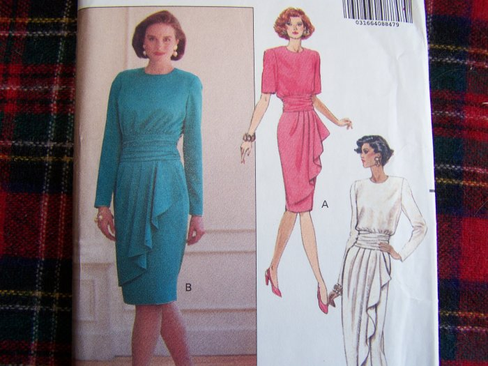 Misses 14 16 18 Dress Mock Sarong Overlay Bias Drape Sewing Pattern 5098