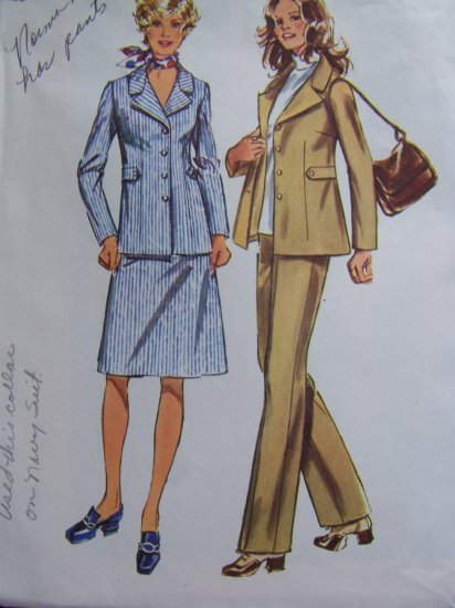 1970's Vintage Sewing Pattern Misses Bust 38 Suit Set Unlined Jacket SKirt Pants 9837