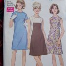1960's Mod Vintage Sewing Pattern 7535 A LIne Dress No Collar Round Neck Sz 10