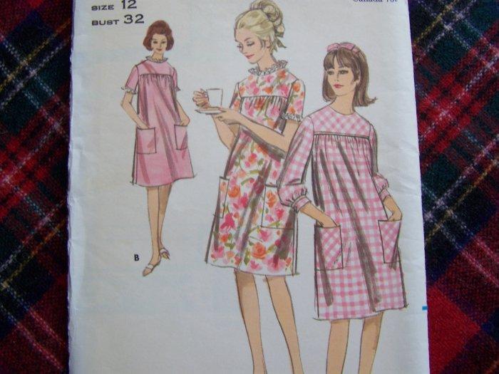 USA 1 Cent S&H 60's Vintage Mod Smock Dress Sewing Pattern 3865 Size 12