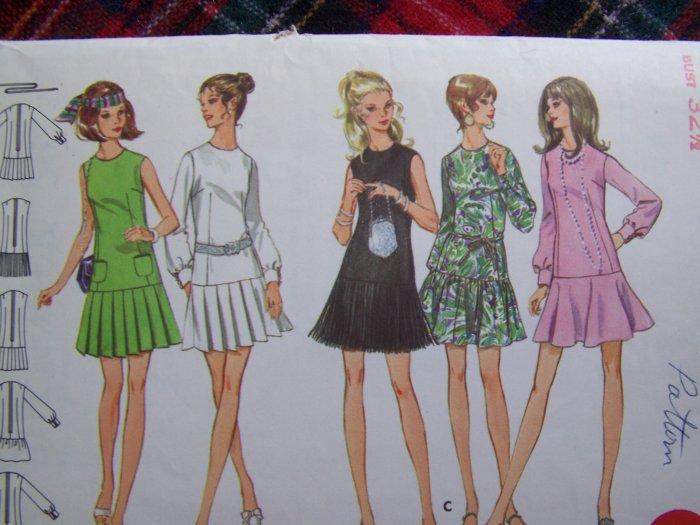 70's Vintage Sewing Pattern 5672 Drop Mini Waist Dress Flirty Skirt Sz 10