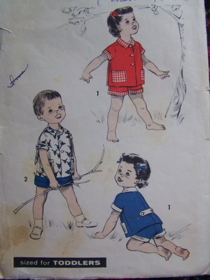 USA 1 Cent S&H 1950's Vintage Toddlers Shirt Shorts 2T Sewing Pattern 8625 Advance