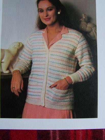 USA 1 Cent S&H Vintage Knitting Pattern Misses Cardigan Sweater With Raised Stripes