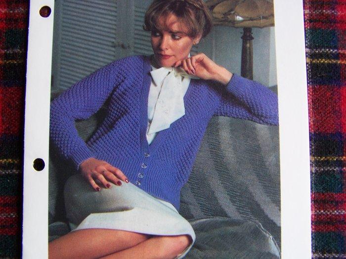 USA 1 Cent S&H Vintage KNitting Pattern Misses Blackberry Stitch Cardigan Sweater
