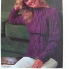 USA 1 Cent S&H Aran Pullover Sweater Boat Neck Vintage Knitting Pattern 1980's