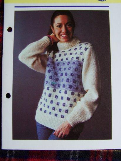 1 Cent USA S&H Vintage 1980's Knitting Pattern Lady's Patterned Sweater