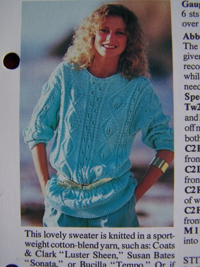 USA 1 Cent S&H Vintage Knitting Pattern Misses Aran Style Sweater