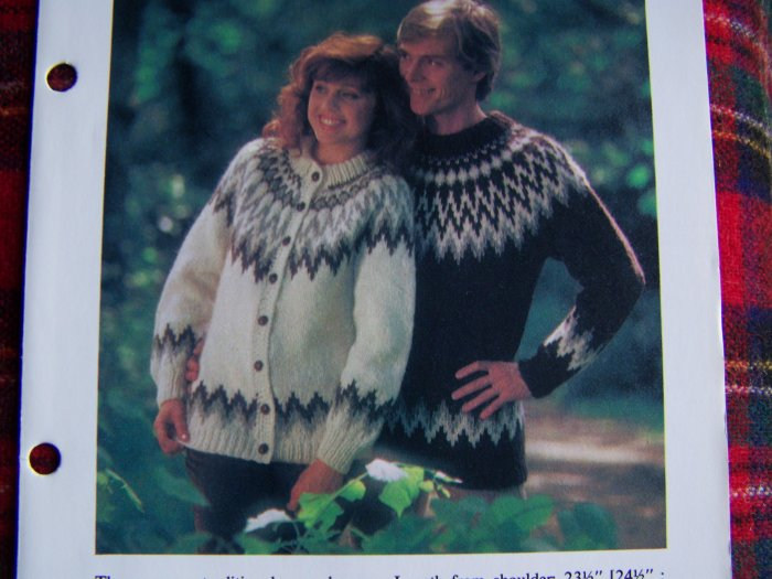 USA 1 Cent S&H Misses & Mens Icelandic Sweaters Vintage Knitting Patterns