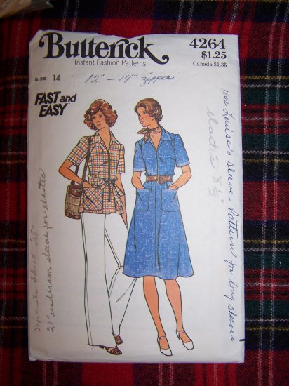 70's Vintage Front Zip Dress Tunic Top Straight Leg Pants Slightly Flared Sewing Pattern 4264