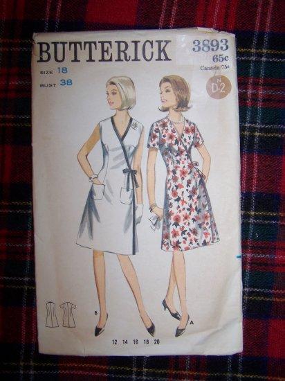 USA 1 Cent S&H 60's Vintage Wrap Dress Sz 18 V Neck A Line Skirt Sewing Pattern 3893