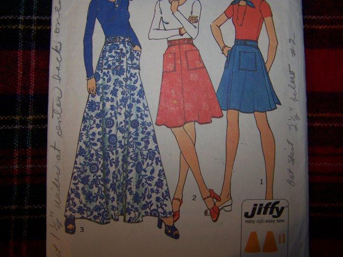 USA 1 Cent S&H 1970's Vintage Back Wrap Skirts Mini Midi Maxi Lengths Sz 12 14 Sewing Pattern 6789