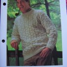 1 Cent USA S&H Mens Vintage Knitting Pattern Sweater Basket Cable Stitch