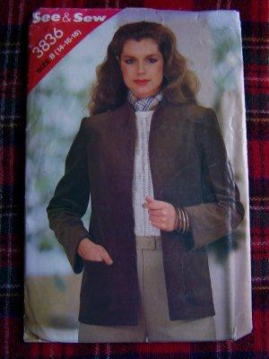 USA 1 Cent S&H Vintage Sewing Pattern Sz 14 16 18 Misses Blazer Suilt Jacket 3836