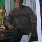 US 1 Cent S&H Mens Vintage Knitting Pattern Striped Pullover Sweater