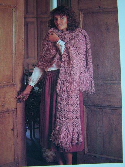 1 Cent USA S&H Vintage Knitting Pattern Big Beautiful Stole Wrap Fringe